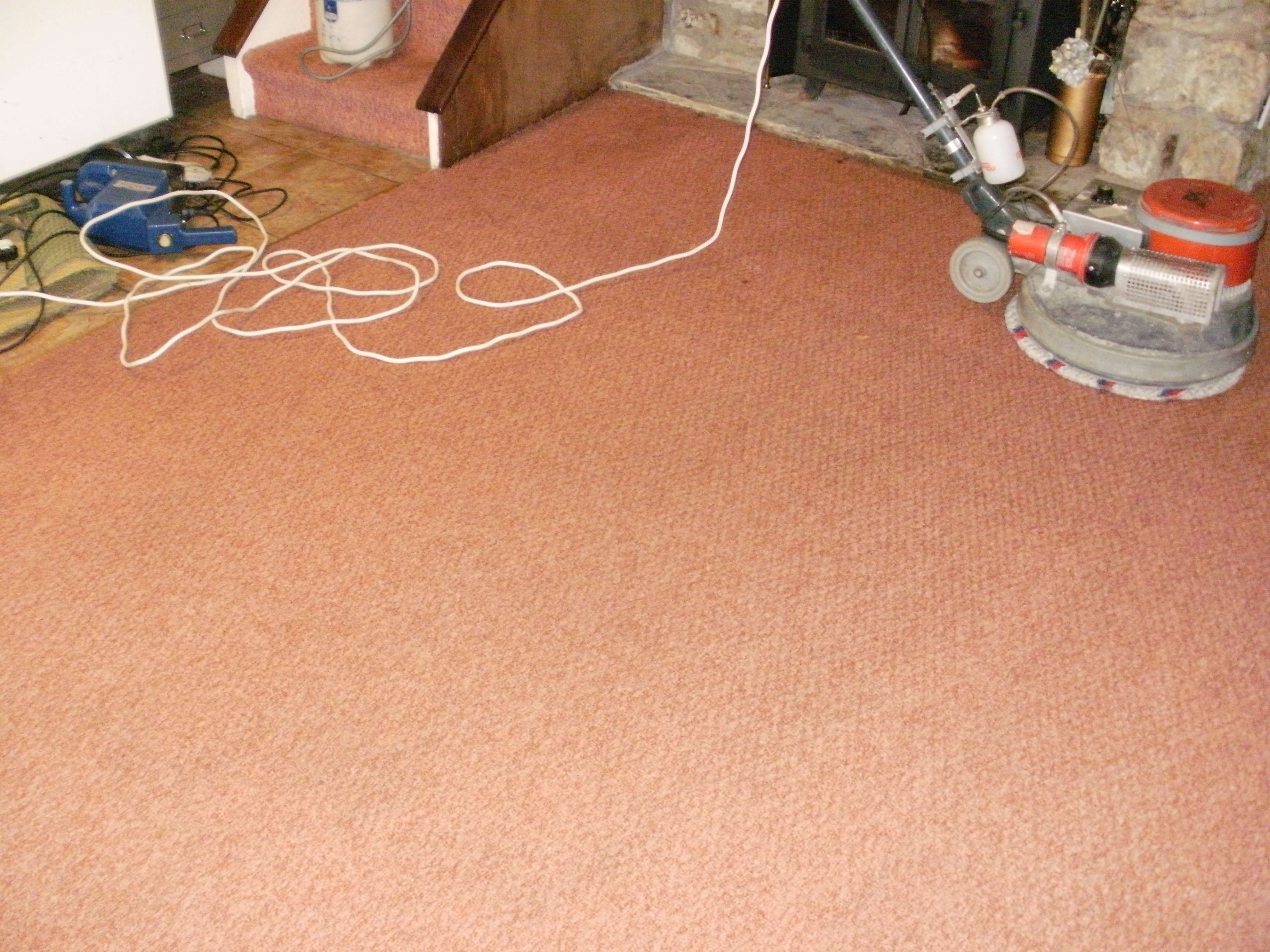 Stains lifted from a carpet