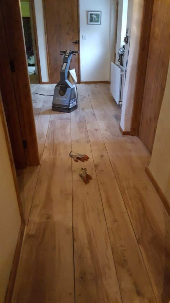 A polished and waxed floor
